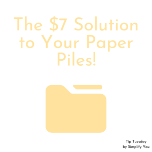 The $7 Solution to Your Paper Piles Image showing a yellow folder